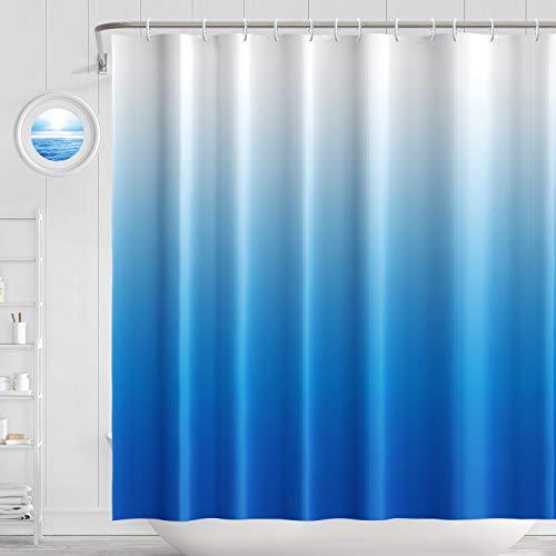 H HOMEWINS Cortina de Baño Poliéster Impermeable Antimoho, Cortina de Ducha 180 × 180 cm con 12 Anillos de Cortina para Sales de Baño 4 Patrones a Juego (Azul)
