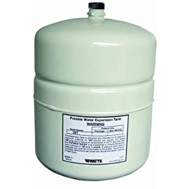 Watts DET-5 2.1 G Potable Water Expansion Tank for 50-Gallon Water Heaters 9 Protects the water heater from thermal expansion^Absorbs the increased volume of water created when water is heated^For water heaters up to 100-Gallon^Contains a durable membrane to prevent contact of water with air in the tank^Pre-pressurized steel tank at 20 psi