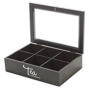 Boîte à thé en bois 6compartiments à couvercle en verre Cuisine Boîte à épices poitrine sac à nourriture
