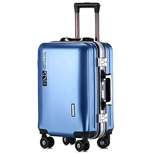 Valigia del carrello della struttura di alluminio, dimensione dei bagagli di viaggio: 20', 22', 24' colore: multicolore facoltativo, Lake Blue Aluminum Frame With Charging Port, 56 cm,