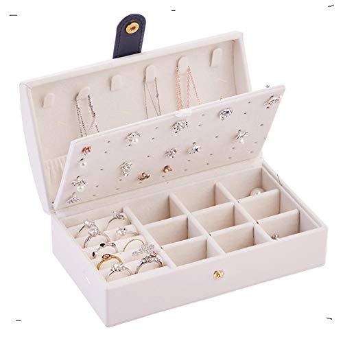 KDABJD Caja de joyería de PU portátil Cremallera Pulsera Pendientes Collar Anillos Caja de Almacenamiento Gabinete para Viajes