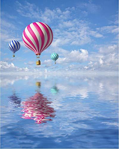 Malen Nach Zahlen Heißluftballon DIY Leinwand Gemälde für Erwachsene und Kinder, Enthält Acrylfarben und 3 Pinsel Selber Auf Leinwand Malen Nach Zahlen 40x50 cm (Ohne Rahmen)