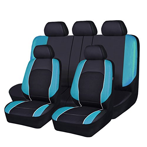 HORSE KINGDOM Universal Car Seat Covers Faux Leather with Air-mesh Breathable Aibag Compatible (Black with Blue)