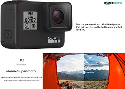 Gopro hero7 black waterproof digital action camera with touch screen 4k hd video 12mp photos live streaming… 6 this certified refurbished product is tested and certified to look and work like new. The refurbishing process includes functionality testing, basic cleaning, inspection, and repackaging. The product ships with all relevant accessories, a minimum 90-day warranty, and may arrive in a generic box. Only select sellers who maintain a high performance bar may offer certified refurbished products on amazon. Com