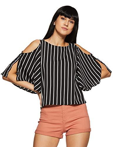 KRAVE Women's Striped Regular fit Top (AW18KRAVE1092_Black/White 2XL)