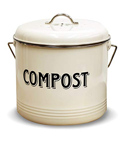 Cheapest Price! Compost Bin with 7 FREE Charcoal Filters by Silky Road | 1.3-Gallon / 5-Liter | Vint...