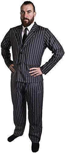 DÉGUISEMENT DE Gangster Adulte des 1920S pour Homme - Veste ET Pantalon DE Costume À Rayures Noires ET Blanches + Cravate Noire par ILOVEFANCYDRESS® (Moyen)