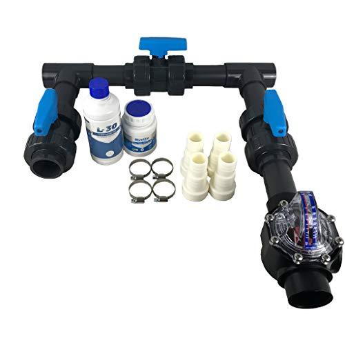 well2wellness® Bypass Set Flow inkl. Durchflussmengenmesser FlowVis für Wärmepumpen, Poolheizungen und Pool Solarheizungen