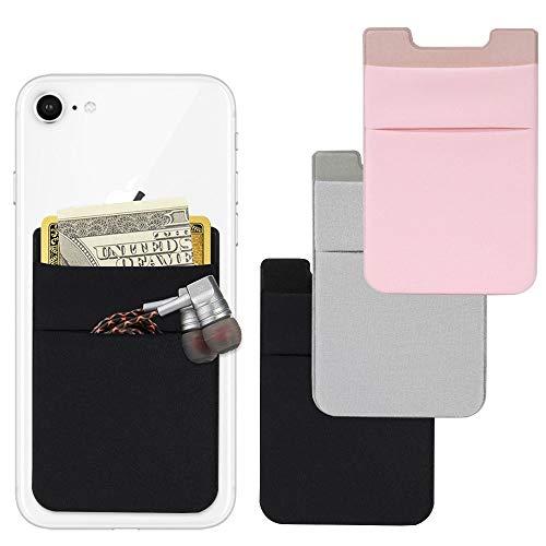 AFUNTA Handy-Karten-Brieftasche, 4 Stück, Lycra, selbstklebend, für Ausweis/Kreditkarten, Handyhüllen, kompatibel mit den meisten Smartphones – Schwarz/Pink/Grau