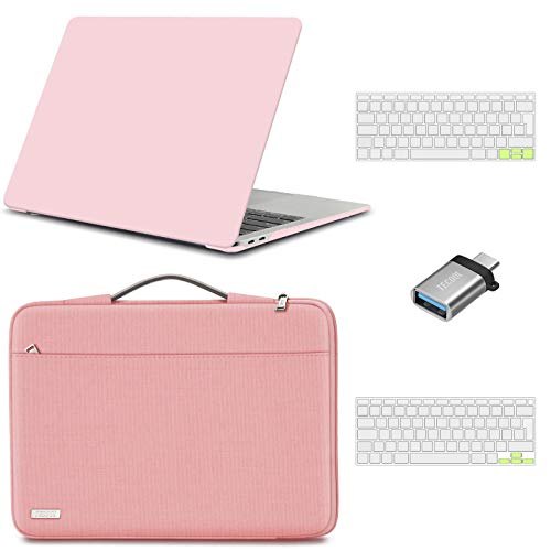 TECOOL MacBook Air 13 inch Case Cover 2020 2019 2018 (Model: A2337 M1/A2179/A1932), Plastic Hard Shell & Sleeve Bag & Keyboard Cover & USB adapter for Mac Air 13.3 Touch ID - Pink & Pink