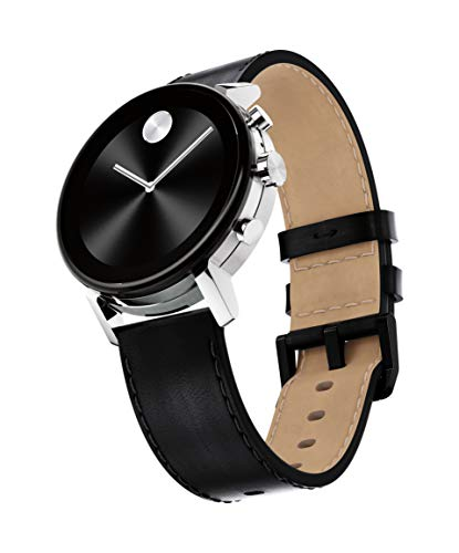 Movado Connect 2.0 Unisex Powered with Wear OS by Google Stainless Steel and Black Leather Smartwatch, Color: Black
