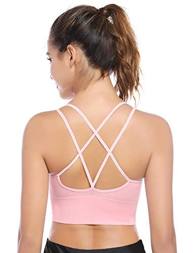 Aibrou Sport BH Rücken Verkreuzt ohne Bügel Yoga BH Atmungsaktiv Schock Absorber Compression Top Gepolstert Rosa m