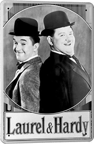 Blechschild 20x30 Laurel & Hardy Stan Oliver Dick und Doof 20er Jahre im Retro Nostalgie Vintage Design Hollywood Kino Theater Stumm Film Cinema