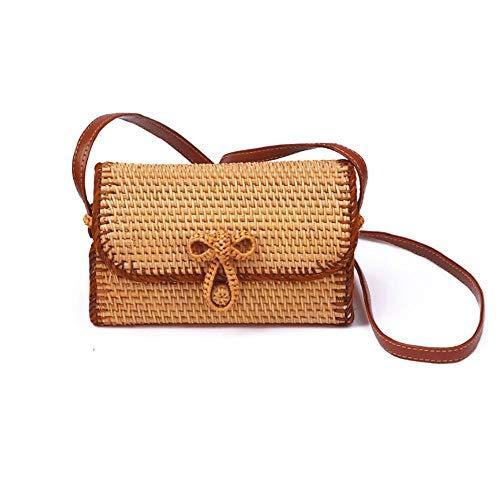 Bolsa de mimbre para mujer hecha a mano, cuadrada, correa de piel, bolso de hombro, bolso de mano
