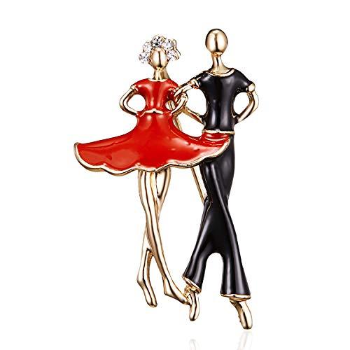 XZFCBH Broches de Bailarina de Ballet de Esmalte para Mujeres, Hombres, Pinzas de Pinzas Hijab, Bailarinas de Cristal, Traje de Pareja, pasadores de Solapa, Insignia, bisutería