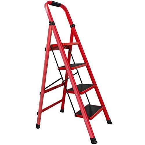 Lsqdwy Escalera Plegable para el hogar Escalera Interior Escalera telescópica Escalera de Cinco Pasos Escalera mecánica Multifuncional Escalera Plegable, Pedal ensanchado Carga 150 Kg (Color: Rojo,