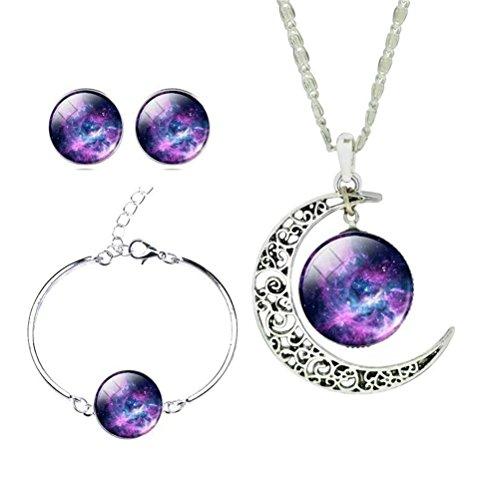 BESTOYARD Galaxy Nebula Halskette Ohrringe Armreif Set für Frauen Weihnachtsgeschenk 3Pcs (Muster 2)