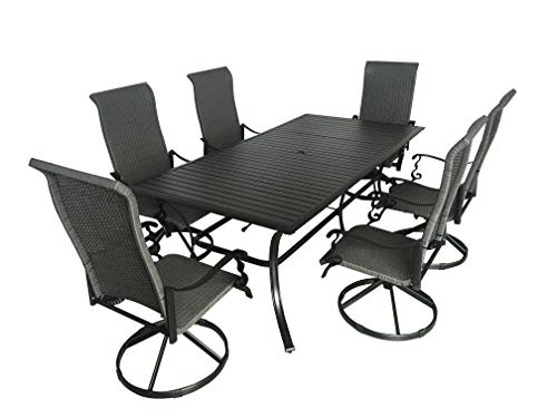 """Pebble Lane Living 7-Piece Patio Dining Set, All Weather & Rust Proof Powder Coated Aluminum, 6 Swivel Rocking Wicker Dining Chairs, Slat-Top Dining Table Measures 82"""" L x 42"""" W x 29"""" H, Black & Grey"""