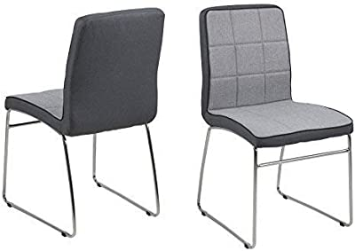 lounge-zone Set of 4 Dining Chair Chair Conference Chair Utrecht Chromed Frame Fabric Dark Grey Light Grey 13943