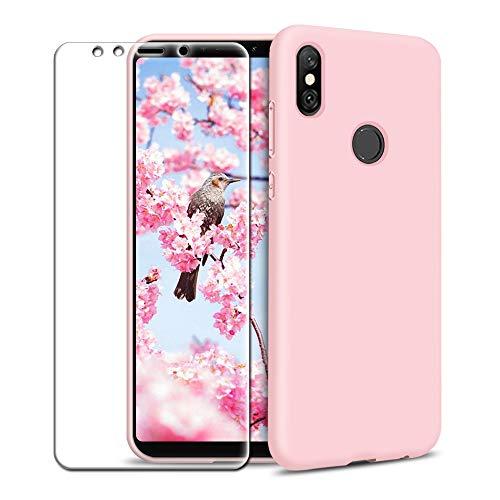 Funda Xiaomi Mi A2 + Protector de Pantalla de Vidrio Templado, Carcasa Ultra Fino Suave Flexible Silicona Colores del Caramelo Protectora Caso Anti-rasguños Back Case - Rosa Claro