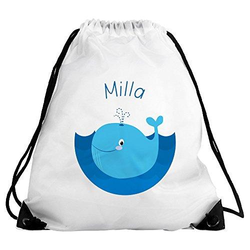 Eurofoto Turnbeutel mit Namen Milla und Motiv mit Wal für Mädchen | Sportbeutel für Kinder