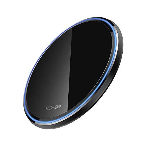 Wireless Charger Ladepad, kabelloses 10W Ladegerät Ladestation, Kompatibel mit für iPhone 11/11 Pro/11 Pro max/XR/XS/X/8,10W Schnellladungen, Samsung Galaxy S10/S9 / S9+ /S8/S8+ usw (schwarz)