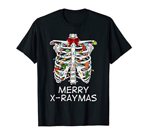 Merry X-Raymas Skeleton Rib Cage Radiology Christmas Gift T-Shirt