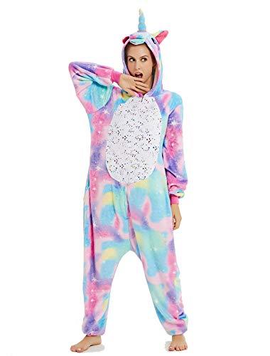 BESUURAN Relaxo Kostüm Einhorn Onesie Jumpsuit Tier Relax Kostuem Pyjama Weihnachten Halloween Schlafanzug Cosplay Erwachsene Karneval TJ S