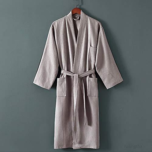 Engpai 100% algodón largo grueso absorbente de rizo bata de baño kimono hombres ligero toalla gofre toalla de baño más ropa de dormir mujer bata L GreyWaffleTowel