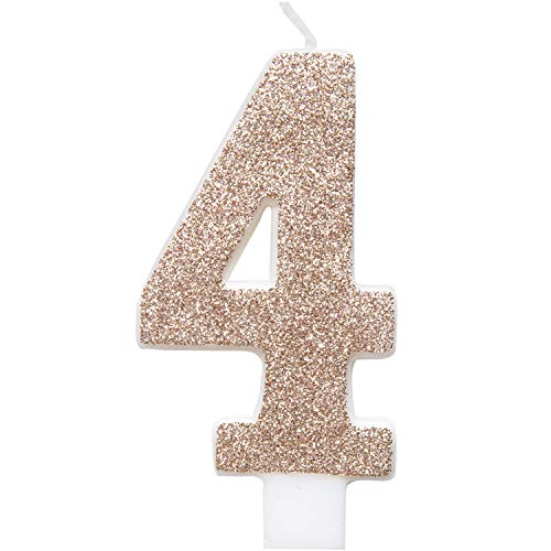 Unique Party 84974 84974-Glitz Rose Gold Number 4 Birthday Candle, Age 4