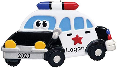 Police Car Toy Personalized Christmas Tree Ornament | Custom Writing Christmas Police Car Toy Gifts | Ornament with Name | Personalized Ornaments 2020 | Free Customization