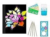EDATOFLY 50 fogli Rainbow Scratch Paper,Carta da grattare Schizzo di Pittura Arcobaleno per bambini con 5 matite di legno 4 stampini per disegno 1 temperamatite e 1 righello per disegno