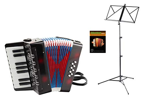 Classic Cantabile Bambino Kinder-Akkordeon Set (8-Bass Kinder-Akkordeon mti 17 Tönen, Tasche & Schultergurt inkl. Notenständer & Schule) Schwarz