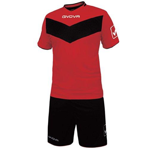 Givova Vittoria, Kit Calcio Unisex - Adulto, Multicolore (Rosso/Nero), 3XS