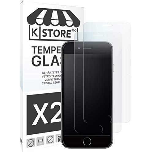 KSTORE365 2 Piezas, Cristal Templado para iPhone 7 Plus / 8 Plus, 9H Dureza, Protector De Pantalla, Vidrio Templado, Adhesivo En Todo El Cristal, 2.5D Borde Redondeado para iPhone 7 Plus / 8 Plus