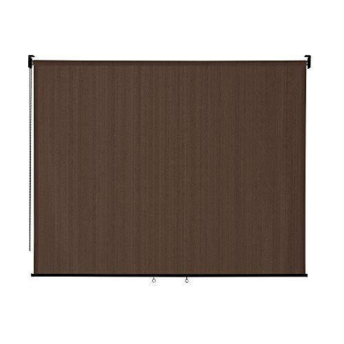 VICLLAX Outdoor Roller Shade, Patio Blinds Roll Up Shade (8' W X 6' L), Mocha