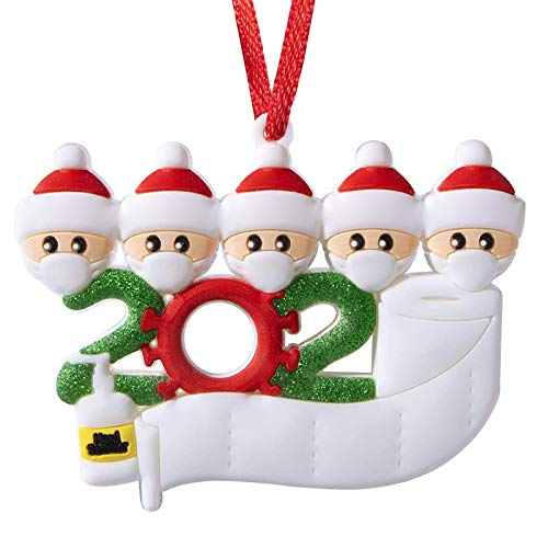YZHI 2020 Christmas Ornament Quarantine Family Personalized Ornaments for Christmas Trees Gifts Christmas Decorations for the Home (5 People)