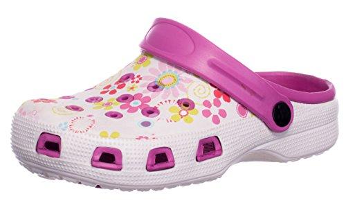 BRANDSSELLER Zuecos de Mujer | Zapato de jardín | Zapatillas | Zapatos de baño | Zapatillas Sandalias | Patrón Floral | Rosa/Blanco | 38 EU