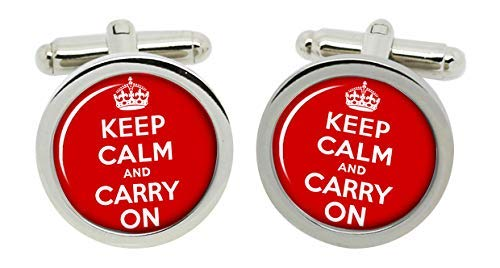 Gift Shop Keep Calm and Carry On Manschettenknöpfe in Chrom Kiste