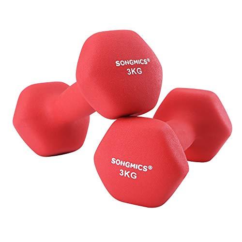 SONGMICS Women\'s SYL66RD 2er-Set Hanteln, 2 x3,0kg-Rot, 20 x 8.5 cm