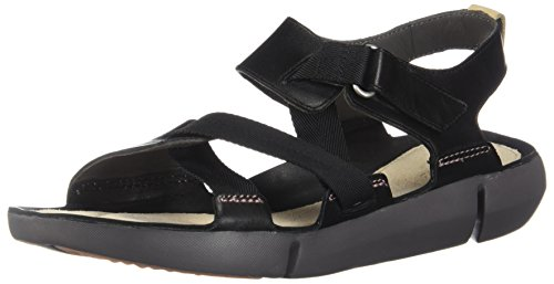 CLARKS Womens Tri Clover Sandal (10, Black Combi)