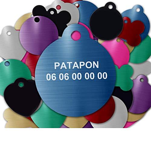 GRAVURE CONCEPT Médaille pour Chien Et Chat À Personnaliser – Médaillon Gravé 27 mm - 1 à 2 Lignes – 8 Couleurs Disponibles (Bleu, Rond)