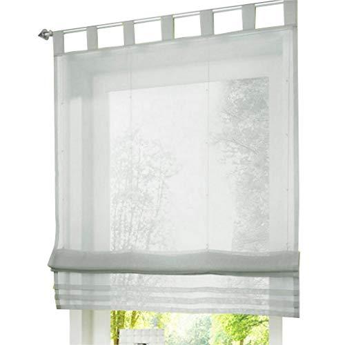 ESLIR Raffrollo mit Schlaufen Raffgardinen Gardinen Küche Transparent Schlaufenrollo Vorhänge Modern Voile Hellgrau BxH 120x155cm 1 Stück