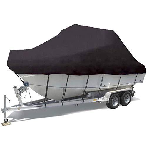 FBKPHSS Funda Impermeable para Barco, 210D Tela Oxford Funda para Barco con Cuerda Fija Remolcable Funda para Barco para V-Hull Tri-Hull Lancha Vela,Negro,17to19FT