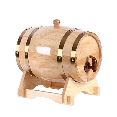 JHSHENGSHI Holzweinfass Holzweinfass Fasswein aus Eiche, antik Holzweinfass 1.5/05.03.10 Liter handgefertigt mit einem Fass für Bier Wein Bier wh