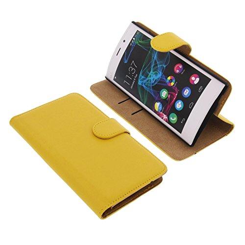 foto-kontor Tasche für Wiko Ridge Fab 4G Book Style gelb Kreditkarte Schutz Hülle Buch