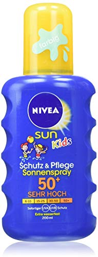 NIVEA SUN Kids Spray Protect & Play coloré FPS 50+ (1x200 ml), protection solaire hydratante...