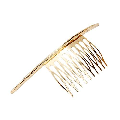 Peigne à Cheveux Décoratif Long Courbé pour Femme Accessoire de Style - Or