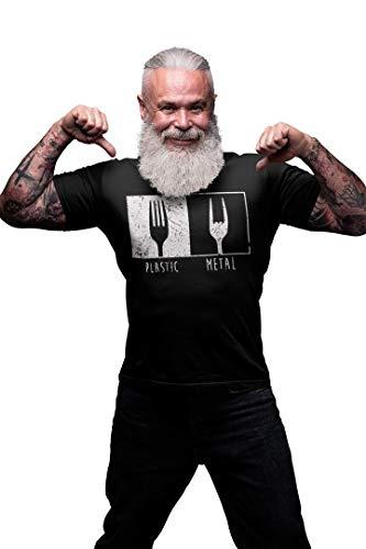 T-Shirt Herren mit Motiv Heavy Metal (Schwarz, L)