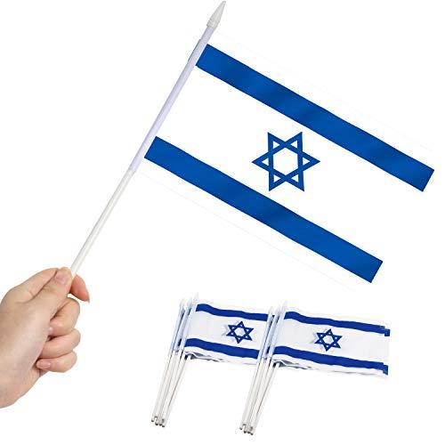 Anley Israelische 5x8 Zoll Handgehaltene Mini-Flagge mit 12